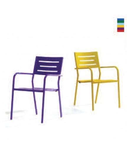 Καρέκλα μεταλλική με μπράτσο σε διάφορα χρώματα