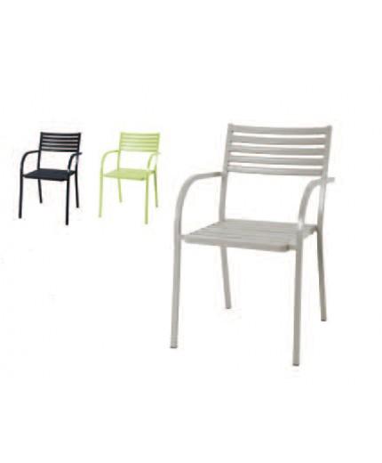 Καρέκλα μεταλλική με μπράτσο σε 3 χρώματα