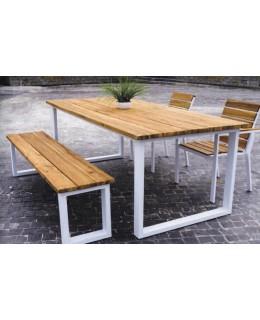 Τραπέζι με παγκάκι και καρέκλες κήπου από ξύλο και μέταλλο