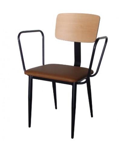 Πολυθρόνα από μέταλλο, ξύλο και δερματίνη στο κάθισμα