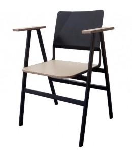Πολυθρόνα μεταλλική ελληνικής κατασκευής Νο388 με ξύλινα μπράτσα και κάθισμα
