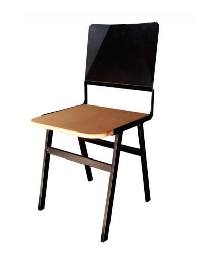 Καρέκλα μεταλλική 389 ελληνικής κατασκευής με ξύλινο κάθισμα