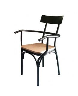 Πολυθρόνα μεταλλική 498 ελληνικής κατασκευής με ξύλινο κάθισμα