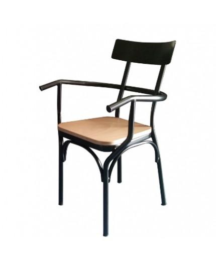 Καρέκλα μεταλλική με ξύλινο κάθισμα