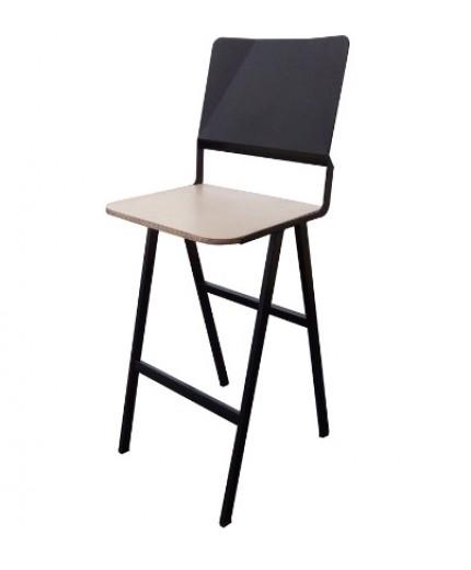 Σκαμπό μπαρ μεταλλικό με ξύλο στο κάθισμα