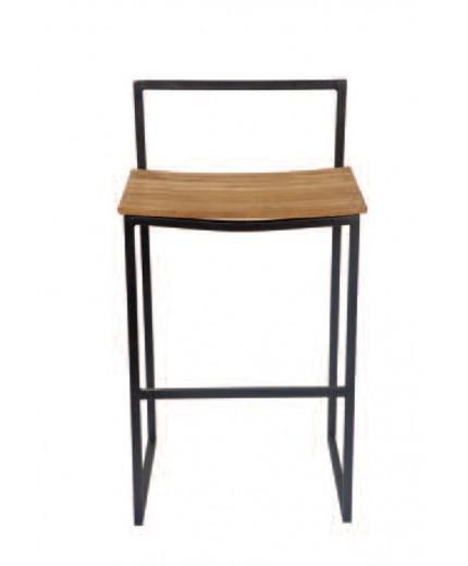 Σκαμπό μπαρ σταθερό με ξύλο στο κάθισμα