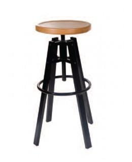 Σκαμπό μπαρ χωρίς πλάτη με ξύλινο κάθισμα