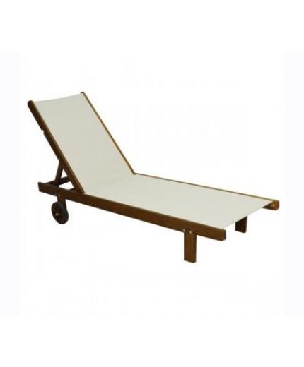 Ξαπλώστρα ξύλινη παραλίας από οξιά και PVC πανί