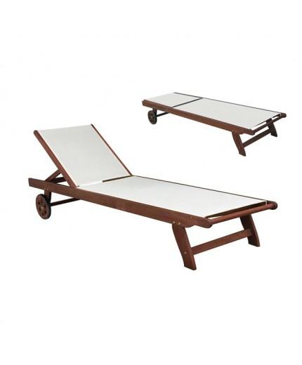 Ξαπλώστρα ξύλινη παραλίας με Λευκό PVC πανί